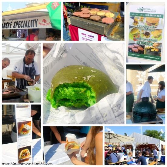 Zelená bulka (Zephyr) jako nejoriginálnější příspěvek festivalu! K tomu 200 gr pleskjavice jako burger z balkánských specialit, šťavnatý burger ze zeleného vajíčka či burger z červenostrakatého skotu...